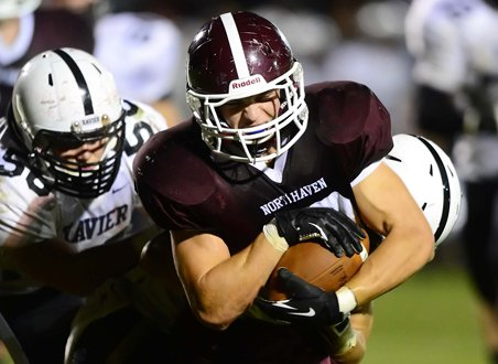 Tight end Zach Kastenhuber helps make up an experienced offensive line at North Haven that stands at the heart of the Indians' new-found success.