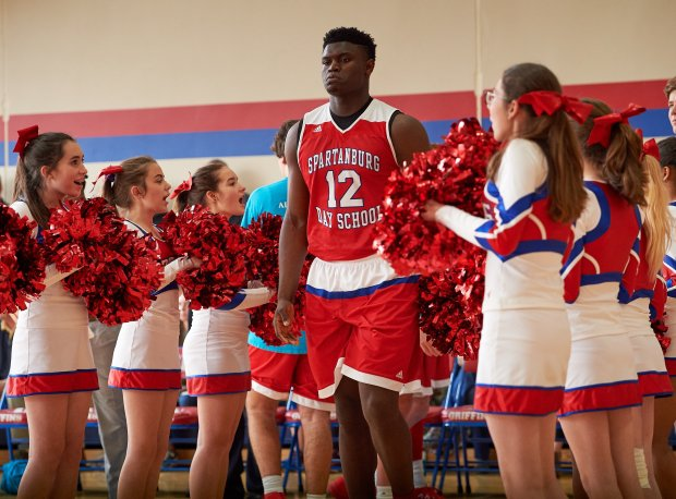 Zion Williamson takes the floor in a game last week against Asheville Christian Academy.