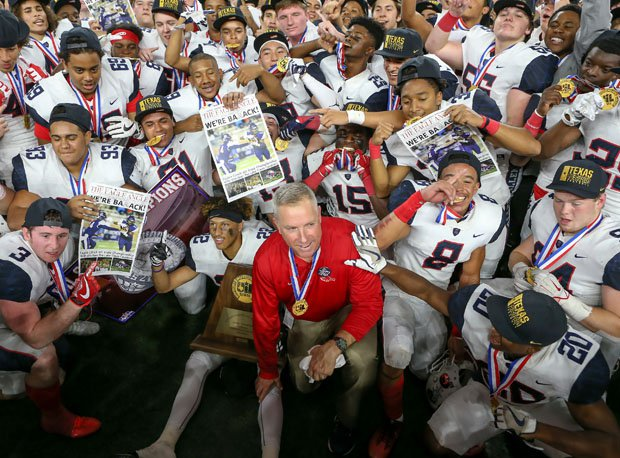 Allen coach Terry Gambill with his state-championship team.