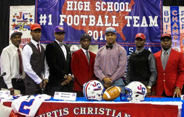 The football signees from Curtis (River Ridge, La.) from left to right: Hezekiah White (Nicholls State), Henry Smith (Houston), Malachi Dupre (LSU), Mattrell McGraw (Oregon), Kenny Young (UCLA), Terrance Alexander (Stanford) and George Moreira (Illinois State).