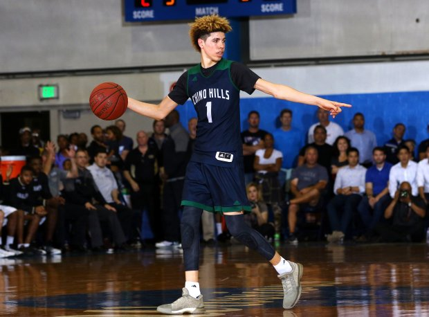 LaMelo in action last season during a highly-anticipated postseason showdown with eventual state champion Bishop Montgomery.