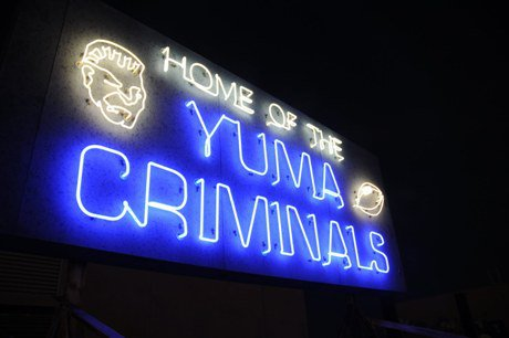 This neon sign is a famous sight at Yuma High.