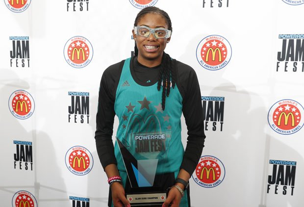 Francesca Belibi was the second girl to win the POWERADE Jam Fest slam dunk contest.