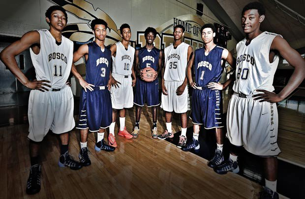 St. John Bosco is loaded with talent and leading the way are players (left to right): Rodney Henderson, Lorne Currie, Vance Jackson, Daniel Hamilton, Billy Preston, Tyler Dorsey and Joseph Tate.