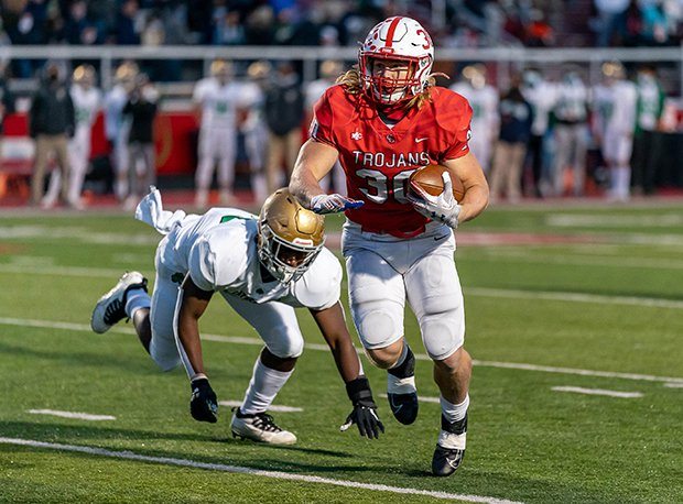 Center Grove (Ind.) running back Carson Steele finishes his career with 5,936 yards rushing and 82 touchdowns.