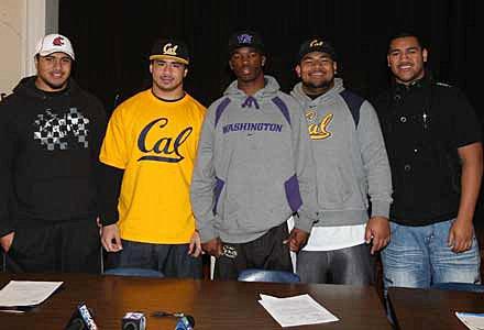 From left to right: Grant signees Darryl Paulo (Washington State), Puka Lopa (Cal), James Sample (Washington), Viliami Moala (Cal), Filipo Sau (Snow College).