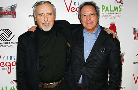 Director David Anspaugh (right) at a 2007 charity screening of 'Hoosiers' with actor Dennis Hopper.