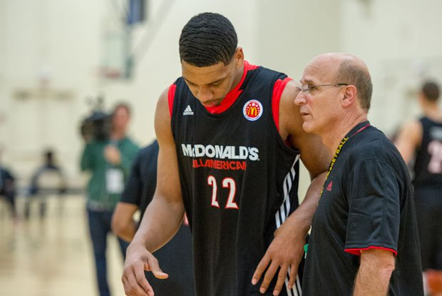 Frank Allocco while coaching practice at 2014 McDonald's All-American Game. Allocco is leaving De La Salle to coach at the University of San Francisco.