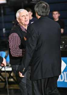 Hurley greets Bob Cimmino of Mount Vernon at the SNY Invitational.