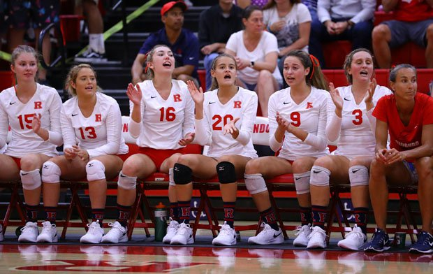 Redondo Union girls volleyball team during its five-game win over Mater Dei earlier this season.