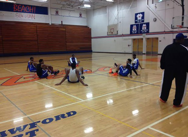 The scene was low key at Jamal Crawford Court at Rainier Beach High School on Wednesday – a far cry from what the Vikings will experience next week in New York City.