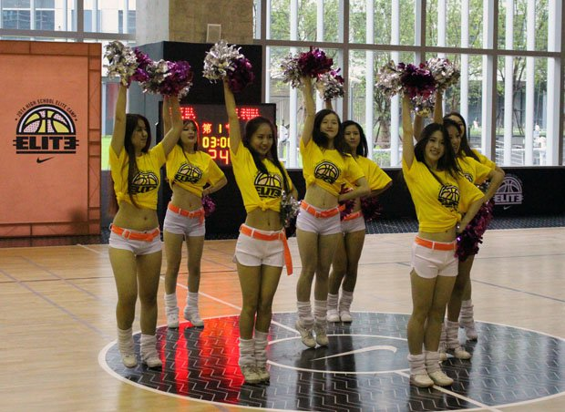 You don't see cheerleaders at American camps, but at the Nike High School Elite Camp in Shanghai you did.