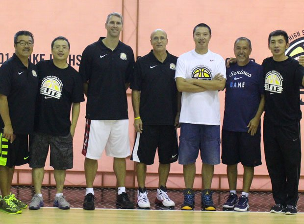 The three coaches with camp organizers at the Nike High School Elite Camp in Shanghai.