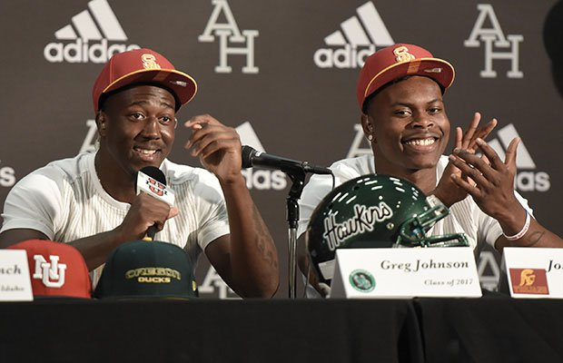 Joseph Lewis (right) and Greg Johnson signed their letter of intents to USC, finishing off a great day for the Trojans.