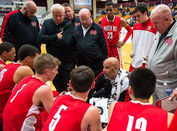 Top-ranked Mater Dei huddles at the Hoophall Classic last week. The Monarchs will be involved in the national game of the week Saturday at the Nike Extravaganza against No. 18 Whitney Young.