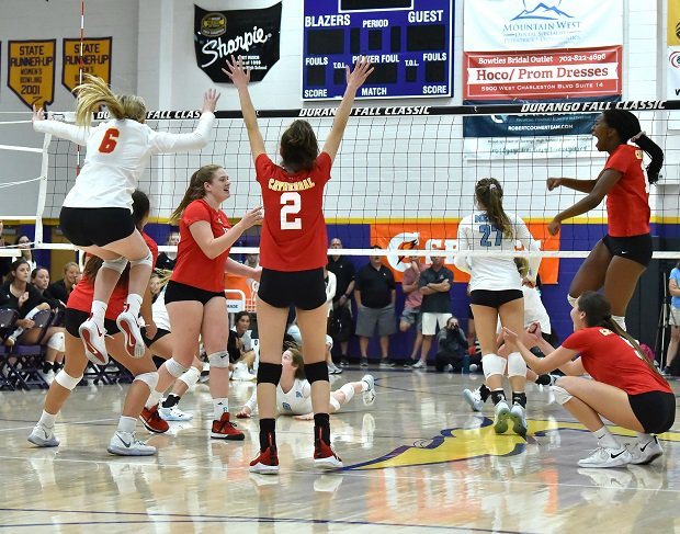 Cathedral Catholic players celebrate after winning the Durango Fall Classic finals over Mercy.