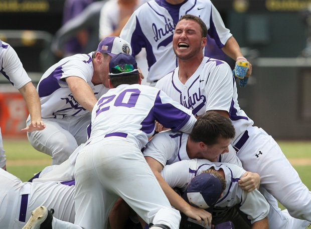 Port Neches-Groves celebrates its 5A baseball title.