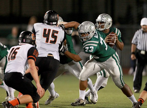 Larry Allen III (73) has more than 20 college offers, including Cal and UCLA. He's also considering Ivy League schools, including Harvard.