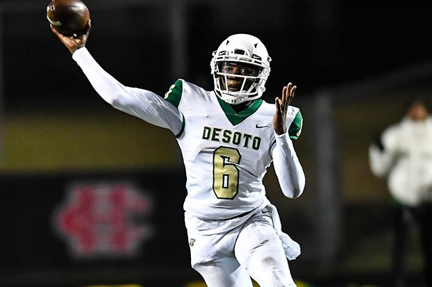 Samari Collier threw for 372 yards and five touchdowns Friday to help DeSoto win big and earn a spot in the MaxPreps Top 25.