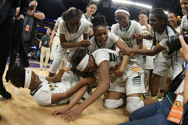 Vanden players celebrate their remarkable comeback win over Mater Dei.