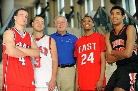 The All-Colorado boys basketball team, from left: Josh Adams, Cory Calvert, coach Dick Katte, Dominique Collier and Josh Scott. Not pictured: Wesley Gordon.