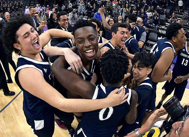Okongwu (middle) celebrates with teammates after winning the 2018-19 CIF State Division 1  championship at the Golden 1 Center in Sacramento.