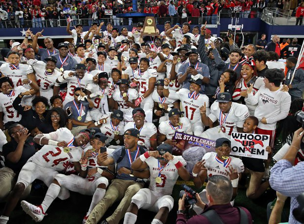 North Shore enjoys the Texas State 6A-1 championship after miraculous victory over Duncanville last season.