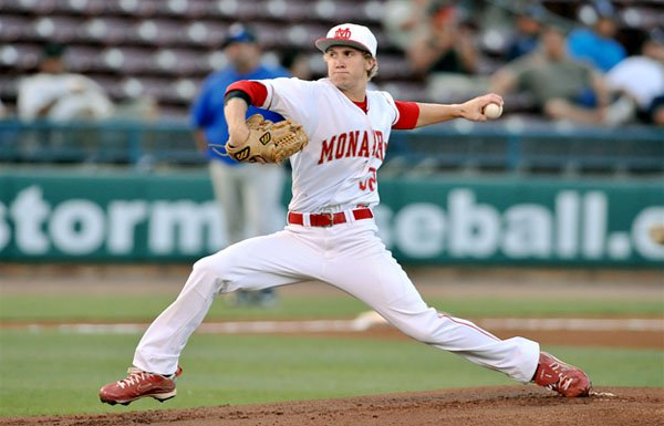 Mater Dei's Cory Hahn pitches during a 2-0 win over Dana Hills in the Southern Section Division 1 final.