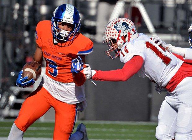 Gorman receiver Jalen Nailor attempts to avoid a Liberty defender.