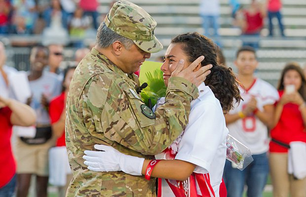In September, U.S. Air Force Lt. Colonel Robert Montes returned a month early from Afghanistan and surprised his daughter Lucielle Lopez-Hernandez, a senior drum major in the Taft (San Antonio) band.