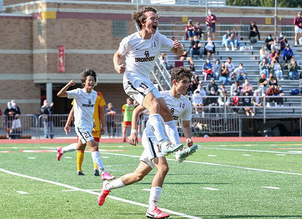 Nino Carramusa of Don Dosco Prep (N.J.) celebrates after scoring a goal to give his team the lead against rival Bergen Catholic.