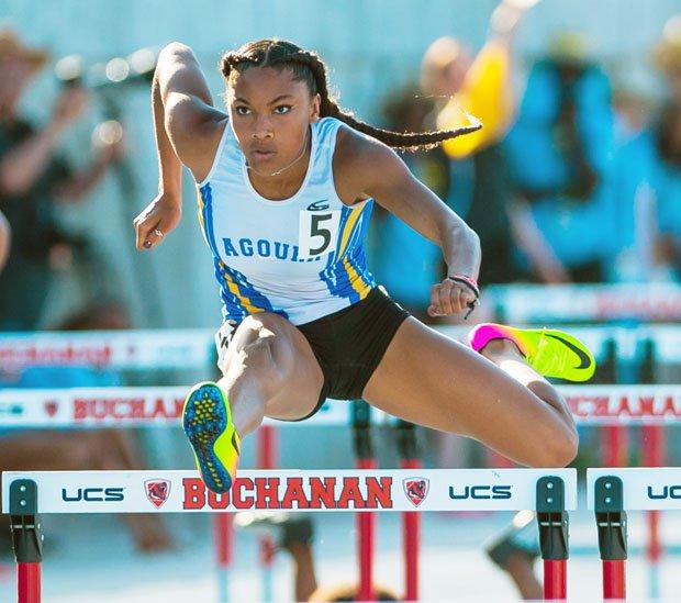 Tara Davis is the fastest 100-meter female hurdler in high school history.