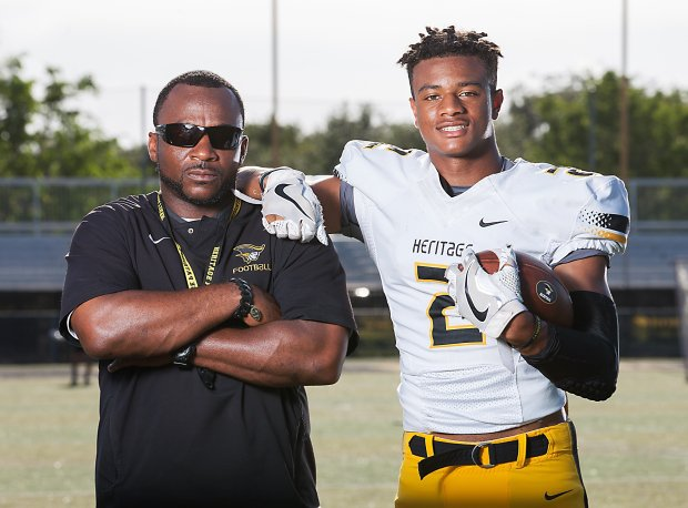 American Heritage head coach Patrick Surtain Sr. and Patrick Surtain Jr. at a photo shoot prior to the 2017 season.