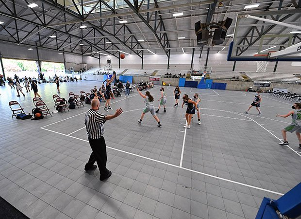 Two junior varsity girls games were the first to be played on the newly installed courts Wednesday afternoon.