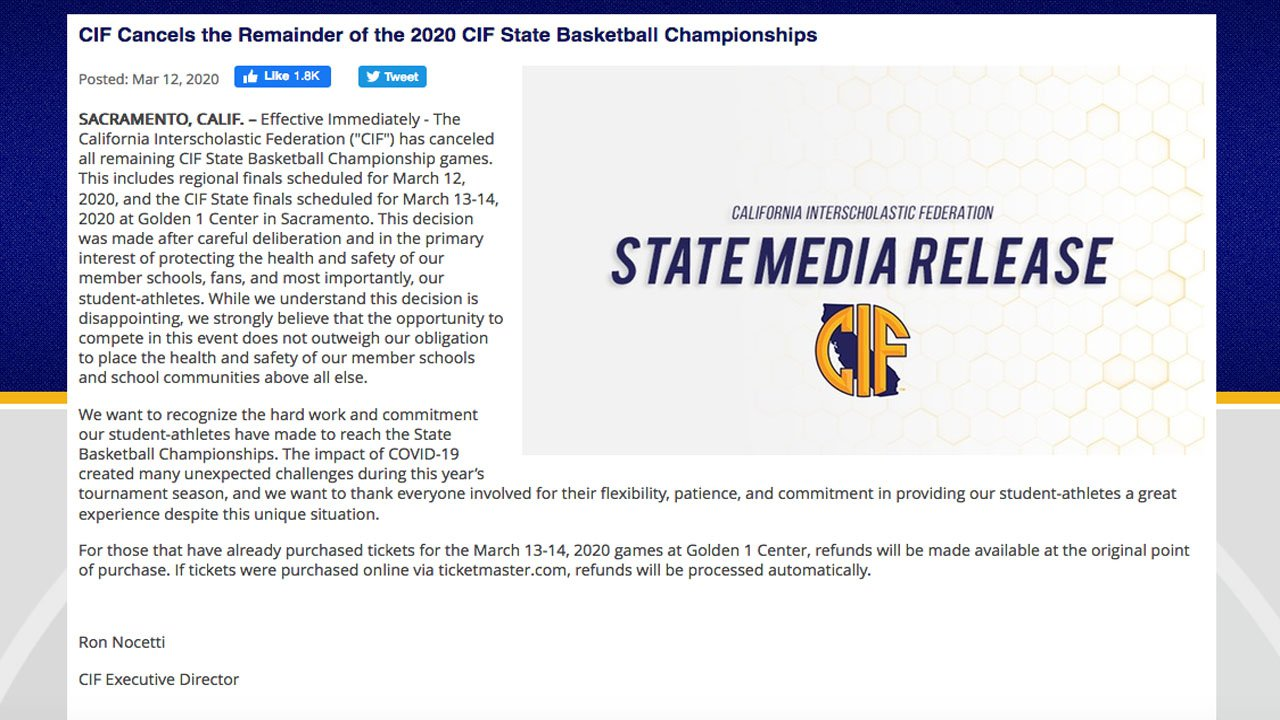 Official statement from CIF and Executive Director Ron Nocetti.
