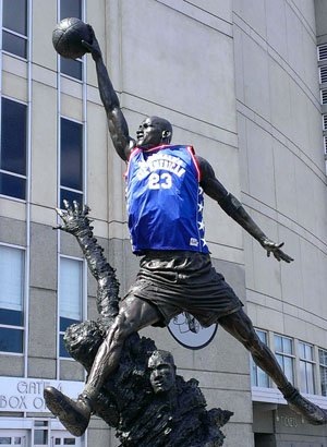 Someone draped a McDonald's All American jersey on the famed statue of Michael Jordan in front ofthe United Center.