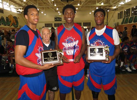 A 27-point outing Saturday night and strong play in the Sunday finale helped propel Stanley Johnson (center) to most outstanding player honors at the prestigious Pangos All-American Camp. Johnson is flanked by Top 25 game standouts Rashad Vaughn (left) and Emmanuel Mudiay (right).