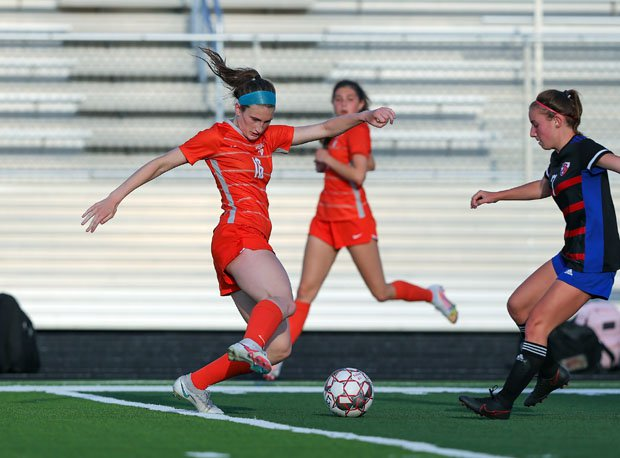 Celina junior Taylor Zdrojewski (left) scored seven goals on Tuesday, pushing her season total to 112 goals, breaking the Texas state record of 109.