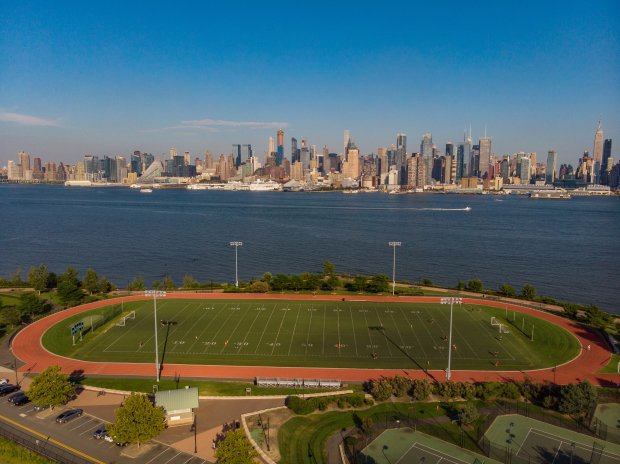 Weehawken High School's football team doesn't play its games at Waterfront Park, but with the New York City skyline as a backdrop, this site couldn't be counted out on a technicality.
