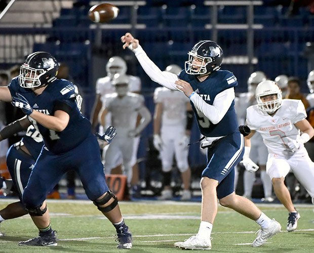 Marietta quarterback Harrison Bailey threw six first-half touchdowns in the convincing victory.
