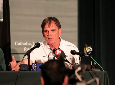 Bob Ladouceur, the MaxPreps 2012 National Coach of the Year, speaks during his stepping down press conference on Jan. 4 at the De La Salle theater.