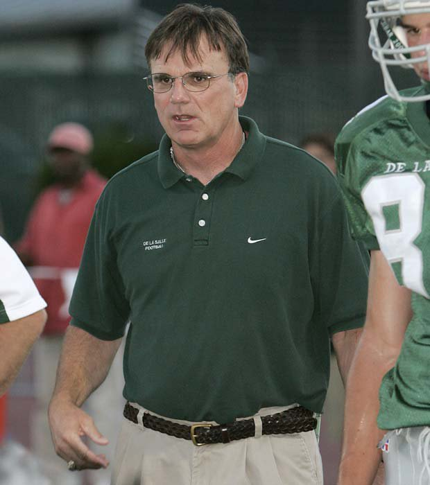 Bob Ladouceur is shown along the sideline during a game against Archbishop Mitty in 2004.