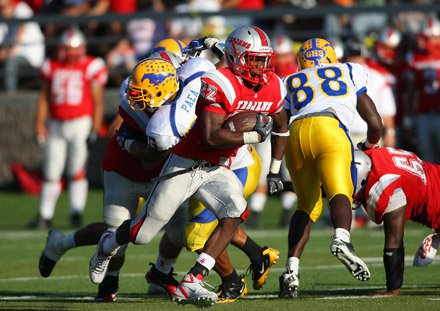 Justin Davis rushed for 250 yards and four touchdowns in a surprisingly lopsided win.
