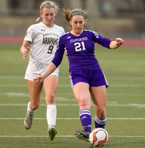 Littleton senior Sarah Gray, right, has the Lions off to a great start to the Colorado girls soccer season. Littleton, behind the play of 11 seniors, is off to a 4-1 start.