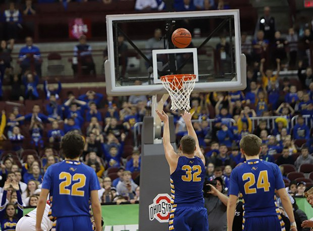 Marion Local senior Tyler Mescher hits a free throw with seconds left to lift the Flyers to a 52-51 double-OT win over Cornerstone Christian in the Division IV state final.