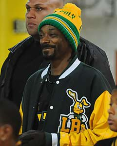 Snoop Dogg, supporting Long Beach Poly  at a 2009 playoff game.