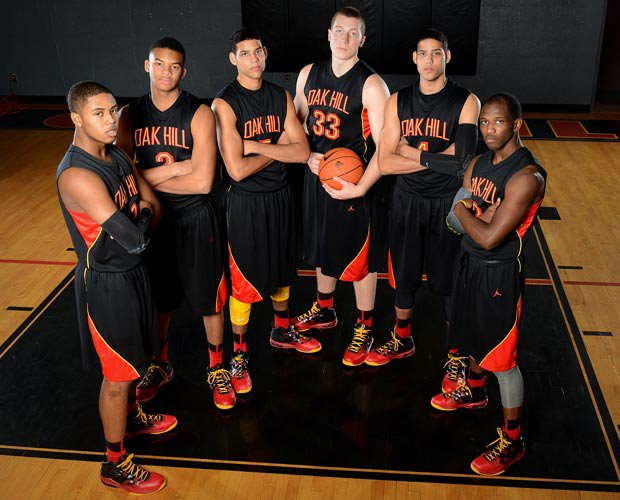 Oak Hill Academy has a roster filled with Division 1 college prospects including players (left to right): Shelton Mitchell, B.J. Stith, Cody Martin, Rokas Gustys, Caleb Martin and Terrence Phillips.