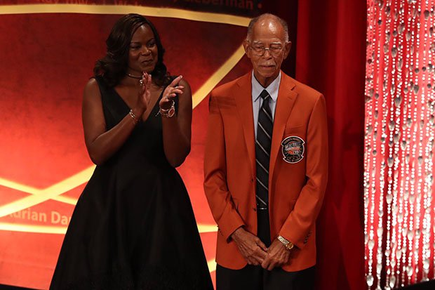 Texas coaching legend Robert Hughes, pictured here with Sheryl Swoopes, was enshrined in the Naismith Memorial Basketball Hall of Fame in 2017.