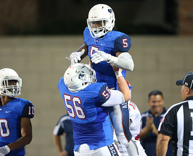 Brock Sturges celebrates one of his four touchdowns for Allen.