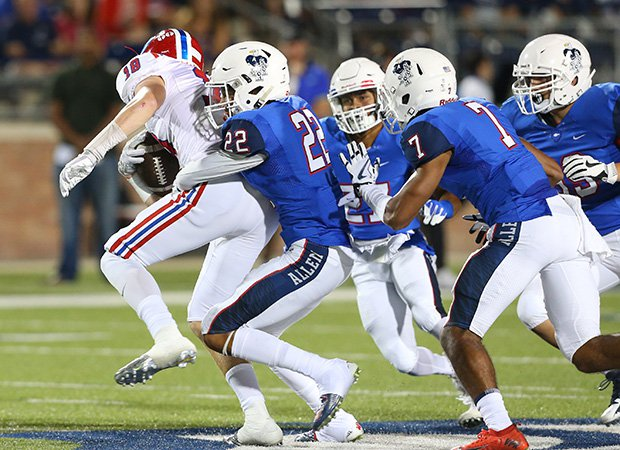 The Allen defense held Evangel Christian Academy in check all night.